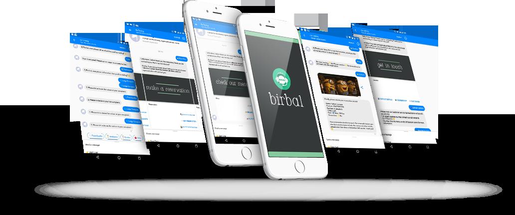 phone mockup - birbal - chatbot for restaurants